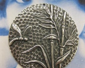 Silver Ox Plated Dragonfly Medallion Stampings 2238SOX x1