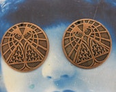 Copper  Ox Plated Mystical Owl Pyramid Medallion Pendants 2137COP  x2
