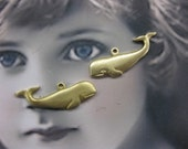 Natural Raw Brass Whale Charms 2253RAW x2