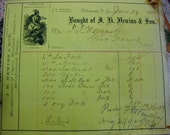 Antique Ephemera 1892 J.H. Newins & Son Cigars and Tobacco Receipt