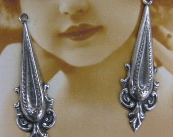 Sterling Silver Ox Plated Neo Classical Drop Dangles 2174SOX  x2