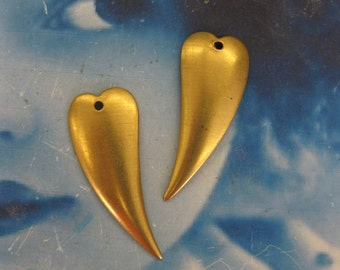 Natural Raw Brass Heart Charms 534RAW x4