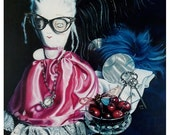 Doll and Cherries Unframed ORIGINAL PAINTING Still Life Acrylic Painting Queenie Pocket Full of Posiez.