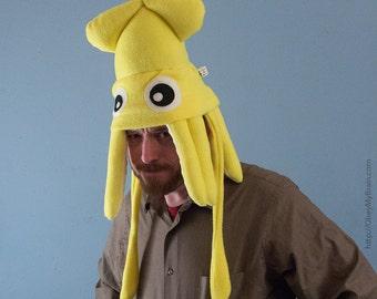 Medium Fleece Squid Hat - Yellow