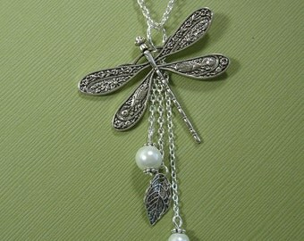 Dragonfly Antiqued Silver  Leaf Pearl Necklace.