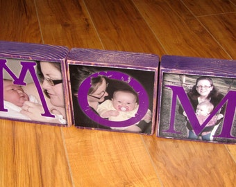 PHOTO GiFT for Mom WOOD- MOM Personalized Larger Photo Blocks- set of 3