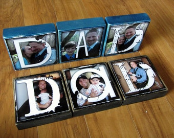 Personalized Larger Photo Blocks- set of 3- DAD