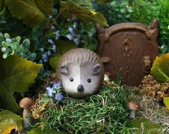 Baby Hedgehog - Outdoor Garden or Terrarium Decor - Hand Painted Terra Cotta Statue