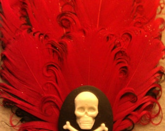 Red fascinator, red, valentines day, skull fascinator, bridal,skull,skull fascinator,hair clip, ON SALE, red clip, red feathers