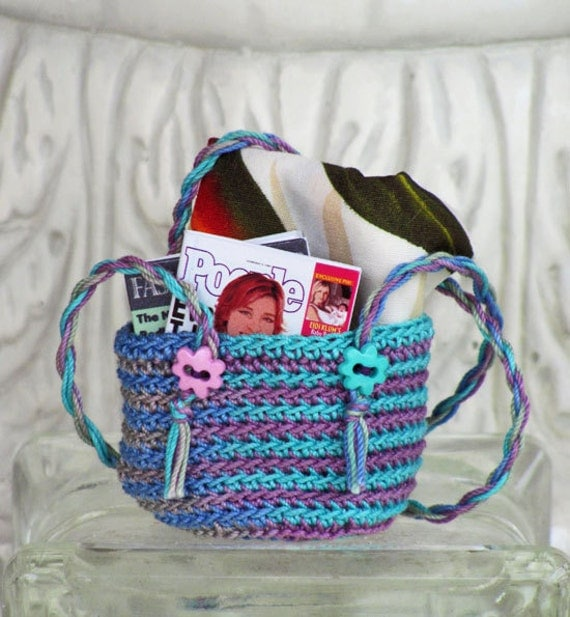 BEACH BAG Crocheted Roomy Tote for 1/6 Scale Dolls - Variegated Thread in Turquoise and Purple Tones