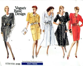 Vogue 2103 Vintage Easy Basic Dress with Options Size 8 10 12 Uncut Vintage Sewing Pattern 1988