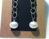Creamy Pearls on Long Sterling Chain