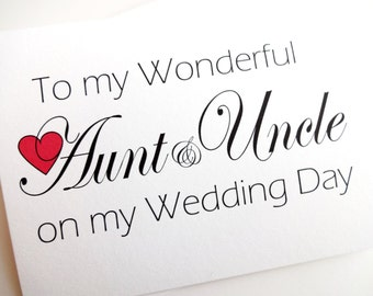 Aunt and Uncle Wedding Card - Wedding Thank You for Aunt & Uncle Card
