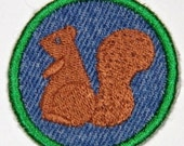 Squirrel Iron on Patch, merit badge