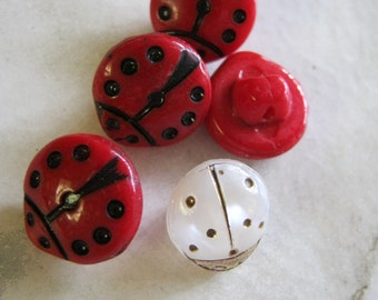 Vintage Lady Bird Glass Buttons, red and white