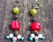 Colorful Coral Earrings Jade Labradorite & Turquoise