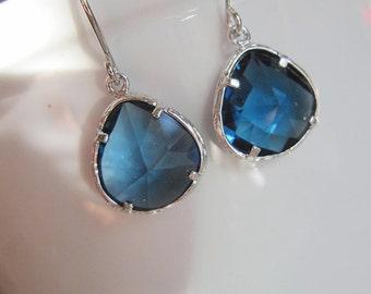Sapphire Earrings, Petite Teardrop Dangles, Silver Jewelry, Bridesmaid Earrings, wedding Jewelry