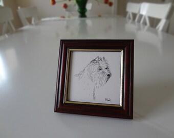 Vintage Terrier Dog Print Illustration Miniature Artist Signed Framed - EnglishPreserves