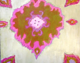 Pink and Gold Ikat