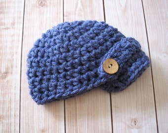 Blue Baby Boy Hat, Baby Newsboy Cap, Newborn Boy Winter Hat, Infant Boy Beanie, Boy Baby Hat, Baby Boy Coming Home Hat,