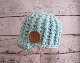 Baby Hat, Blue Baby Hat, Baby Coming Home Hat, Baby Beanie, Baby Newsboy Hat, Crochet Infant Hat, Baby Boy Hat, Baby Girl Hat, Baby Cap