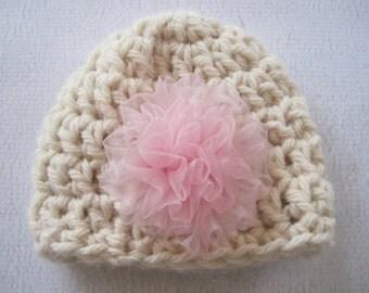 Baby Girl Hat, Crochet Baby Hat, Crochet Girl Hat, Child Crochet Hat, Flower Beanie, Ivory, Newborn Girl Hat, Infant Girl Hat, Baby beanie