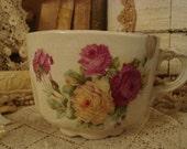 SALE Vintage Shabby Cottage Chic Victorian Rose Mug Chippy