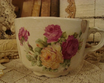 SALE Vintage Shabby Cottage Chic Victorian Rose Mug Chippy