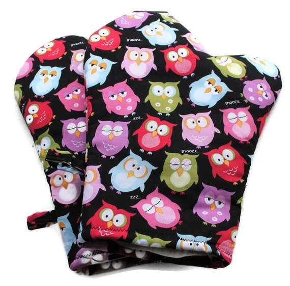 Handmade Oven Mitts Owls set of 2