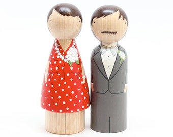 The Original // 5 Year Wedding Anniversary Wood Wedding Cake Toppers //  Anniversary Gift Goose Grease - wooden dolls Fair Trade