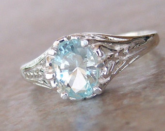 Genuine Aquamarine Sterling Silver Filigree Ring, Cavalier Creations