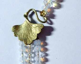 Opal and Clear Crystal Floral Gold Ginko Leaf Dangling Earrings