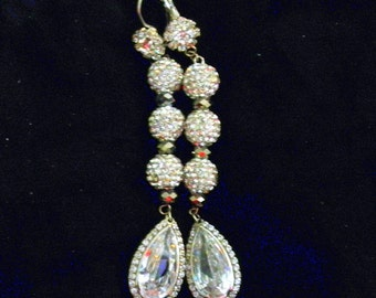 Bridal Earrings, Hollywood Glam Blitzy  Statement Jewelry, Wedding Swarovski Crystal Drop with Pave Beads