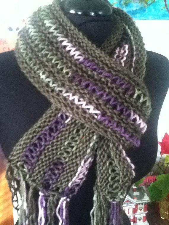 The Lunamuse Scarf - openwork lace scarf with fringe - PDF knitting pattern for needle size US 10.5/6.5 mm