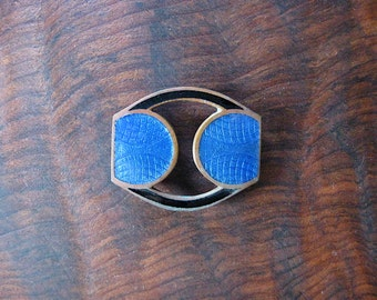 1920s Guilloche Enamel Belt Buckle.