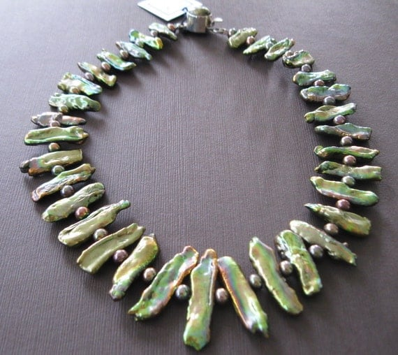 Biwa Green Bronze Rainbow Baroque Pearl Sterling Collar Necklace - Sample Sale