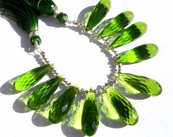 10 Pcs 5 Matched Pair - AAA Peridot Green Quartz Faceted Elongated Tear Drop Briolettes Size 25x8mm Approx, High Quality Great Price