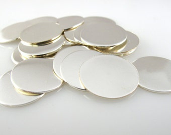 """SILVER FILLED DiSCS 5/8"""" 16mm 22 Gauge New Hand Stamping  Blanks Finished Smooth Tag Jewelry Making QTY 10"""