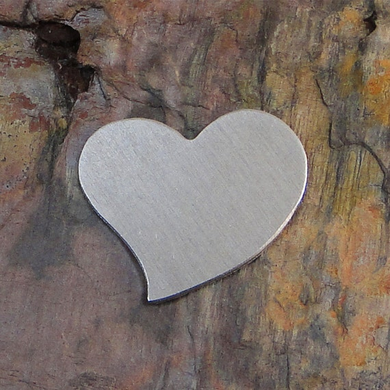 """5 Deburred 18G Aluminum 1/2"""" inch X 1/2"""" TILTED HEART Stamping Blanks"""