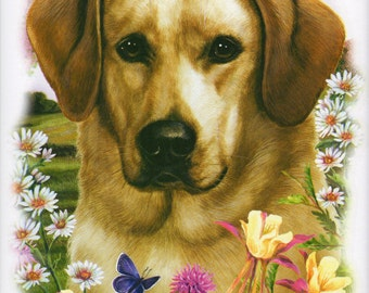 "LABRADOR RETRIEVER (Yellow) dog fabric with Flowers on ONE 18"" x 22"" Fabric Panel for Quilting and Sewing. Picture is 9 "" x 11""."
