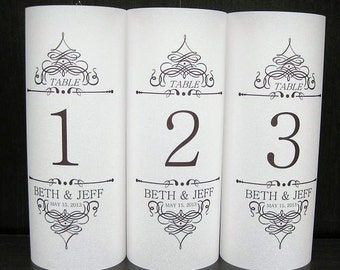 Wedding Table Luminary Personalized Double Scroll, Wedding Table Numbers