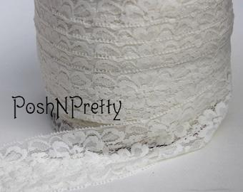 "2"" Premium Lace Stretch Elastic Trim, Floral, Lingerie, Wedding Garter, Baby Headbands - Cream - 5 yards"