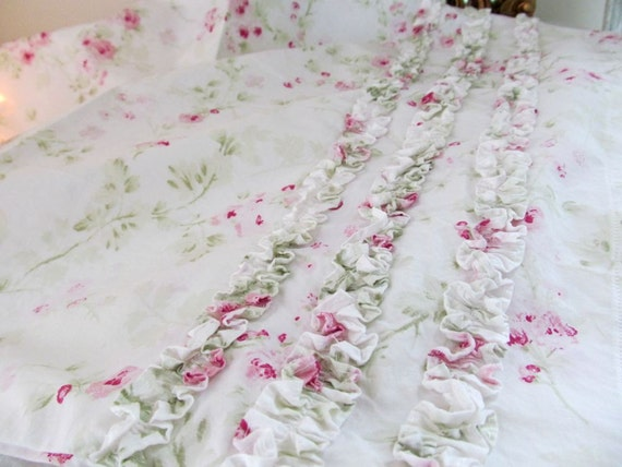 Shabby Chic Ruffle Pillow Case Cover Rachel Ashwell Pink