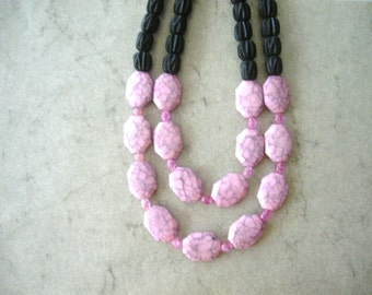 Pink black statement necklace
