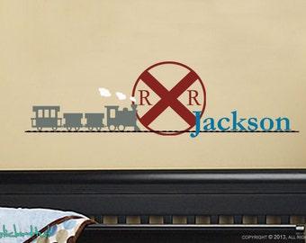 Railroad Sign - Train - Train Track - With Your Custom Name Boy Children's - Bedroom Nursery - Home Decor Vinyl Wall Art Sticker Decal 1461