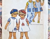 Vintage 1970s Childrens Jumpsuit Pattern or Girls Dress - Simplicity 9840