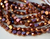 Bronze Medley 6mm Faceted Fire Polish Coin Beads   25