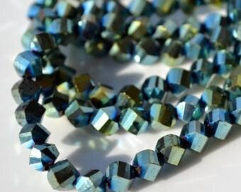 Metallic Green Iris 6mm twist rondelle crystals   10