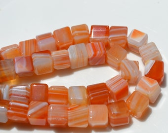 Natural Carnelian 8mm Beveled Cube Beads  8