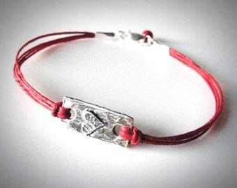 Heart bracelet Sterling Heart Red Bracelet Love Anniversary bracelet Bridesmaid Bracelets graduation mothers day ready to ship
